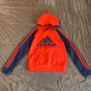 Adidas Boys climawarm Hoodie Orange and Gray Sz: 8